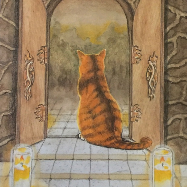 cat Tarot card 2of Fire