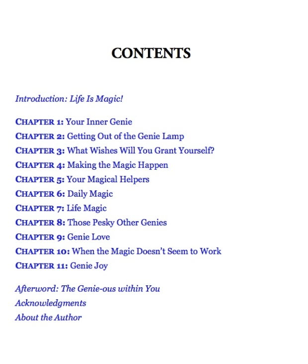 contents page from How to be your own Genie